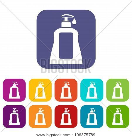 Body care lotion icons set vector illustration in flat style in colors red, blue, green, and other