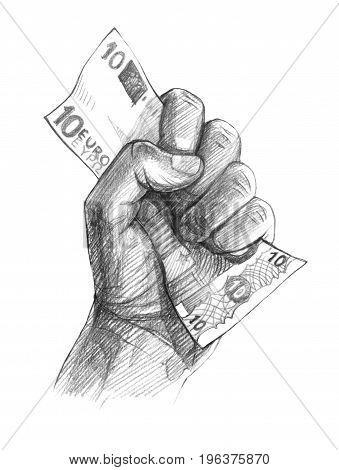 A man's fist with a note in it is 10 euros.Graphic linear tonal drawing by slate pencil. Isolated on white background