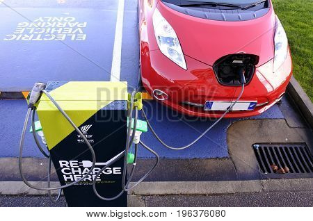 AUCKLAND - JULY 11 2017: Rapid electric vehicle charging stations. On Nov 2016 Vectors networks had 9095 rapid charging stations around New Zealand with an average 20 minutes charge time.
