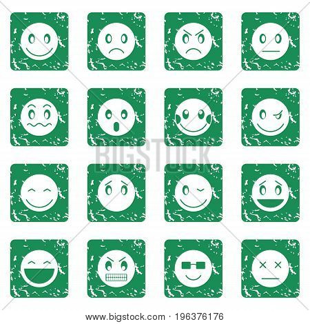Emoticon icons set in grunge style green isolated vector illustration