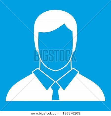 Manager icon white isolated on blue background vector illustration