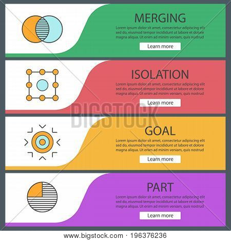 Abstract symbols web banner templates set. Merging, isolation, goal, part concepts. Website color menu items. Vector headers design concepts