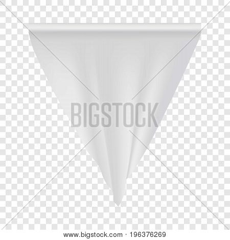 Empty white pennant mockup. Realistic illustration of empty white pennant vector mockup for web