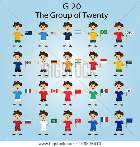 Vector illustration of G-20 countries flags.The Group of Twenty the World's Leading 20 Economies.Banner for Summit financial and economic international forum.Infographic design image.Boys with flags