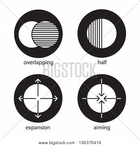 Abstract symbols glyph icons set. Overlapping, half, aiming, expansion concepts. Vector white silhouettes illustrations in black circles
