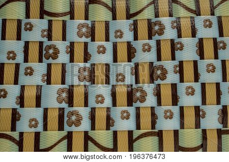 Brown, yellow plastic weave, pattern, texture, background