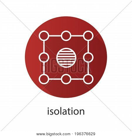 Isolation symbol flat linear long shadow icon. Insulation abstract metaphor. Vector outline symbol