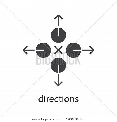 Directions glyph icon. Silhouette symbol. Abstract metaphor. Negative space. Vector isolated illustration
