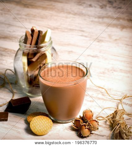 Chocolate milk - hazelnut milk and cookies for your breakfast or meal