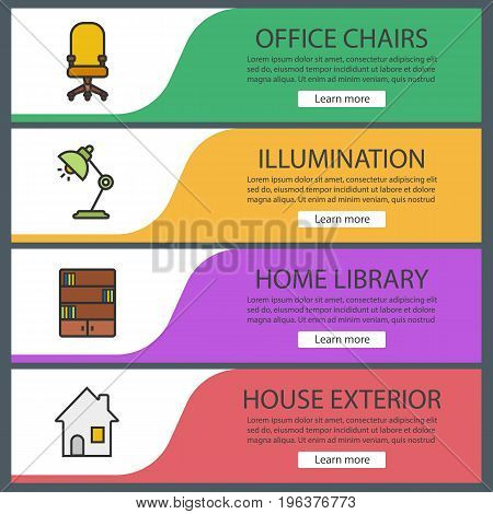 Furniture web banner templates set. Office chair, desk lamp, bookcase, house. Website color menu items. Vector headers design concepts