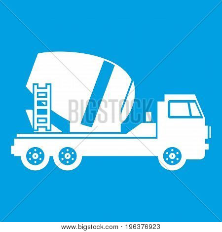 Concrete mixer truck icon white isolated on blue background vector illustration
