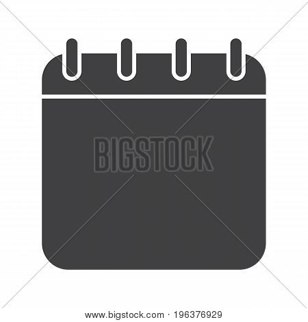 Calendar glyph icon. Silhouette symbol. Binder calendar blank page. Negative space. Vector isolated illustration