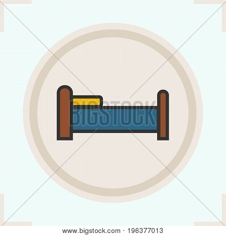 Bed color icon. Bed with pillow. Isolated vector illustration