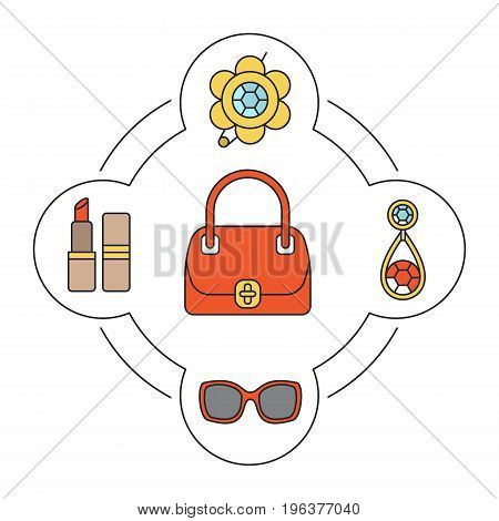 Woman's handbag contents color icons set. Brooch, earring, sunglasses, lipstick. Isolated vector illustrations