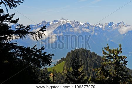 View from the pass Col de Jaman across Les Avants on the Alps Vaud Switzerland