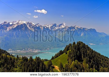 View from the pass Col de Jaman across Lac Leman on the French Alps Vaud Switzerland