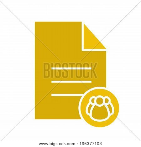 Petition glyph color icon. Group document. Text file with group of people. Silhouette symbol on black background. Negative space. Vector illustration