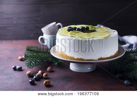 Cheesecake new york for christmas and new year party - festive white winter cake in xmas style holiday recipe