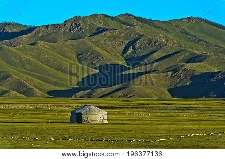 Yurt of a nomad family in the Orkhon Valley Mongolia