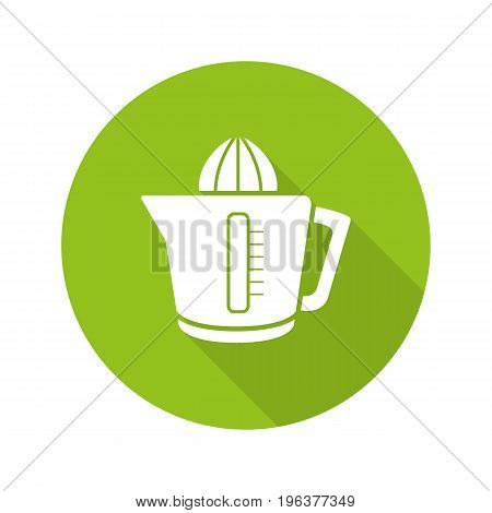 Juicer flat design long shadow glyph icon. Squeezer. Vector silhouette illustration