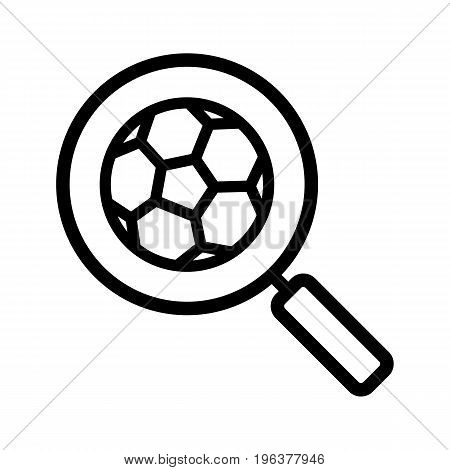 Magnifying glass with soccer ball linear icon. Thick line illustration. Football game search contour symbol. Vector isolated outline drawing