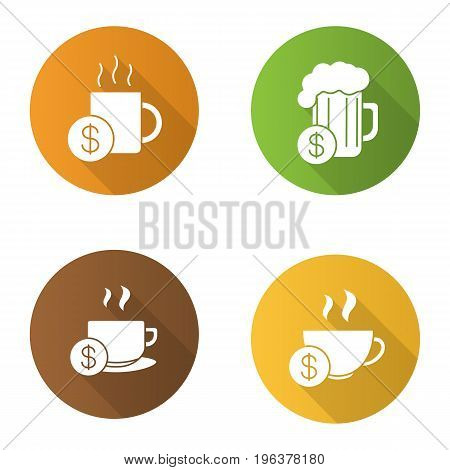 Buy drinks flat design long shadow glyph icons set. Beer glass, hot steaming mugs price with dollar sign. Vector silhouette illustration