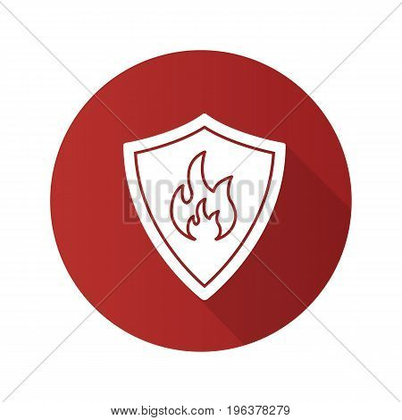 Firefighters badge flat design long shadow glyph icon. Protection shield with fire. Vector silhouette illustration