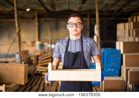 Farming Gardening Agriculture And People Concept Senior Man Or Farmer With Box Of Red Ripe