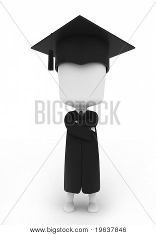 3D Illustration of a Graduate Pose Proudly