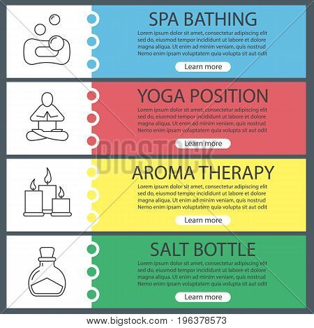 Spa salon web banner templates set. Bubbles with sponge, yoga position, aromatherapy candles, salt bottle. Website color menu items with linear icons. Vector headers design concepts