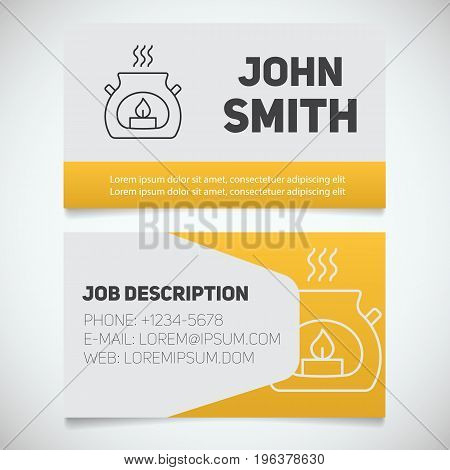 Business card print template with aroma candle logo. Spa salon cosmetologist. Aromatherapy. Stationery design concept. Vector illustration