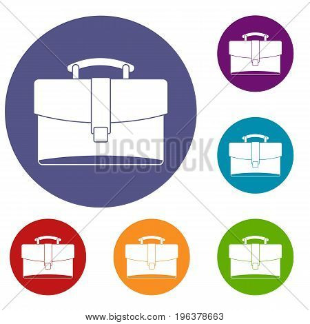 Leather briefcase icons set in flat circle red, blue and green color for web