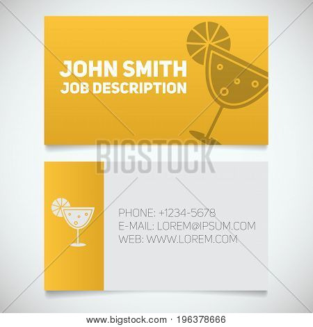 Business card print template with margarita cocktail logo. Club manager. Barman. Stationery design concept. Vector illustration
