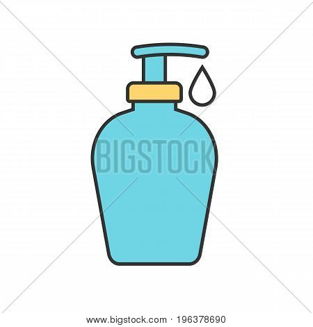 Shower gel color icon. Liquid soap bottle with drop. Isolated vector illustration