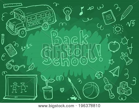 Doodle freehand chalk drawing on green chalkboard with back to school lettering
