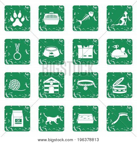 Cat care tools icons set in grunge style green isolated vector illustration