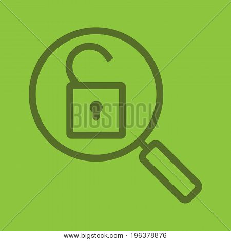 Password search color linear icon. Magnifying glass with open lock. Security. Thick line outline symbols on color background. Vector illustration