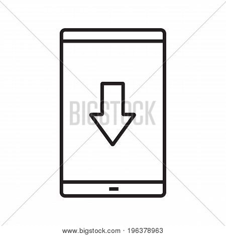 Smartphone app download linear icon. Thin line illustration. Smart phone with download arrow contour symbol. Vector isolated outline drawing