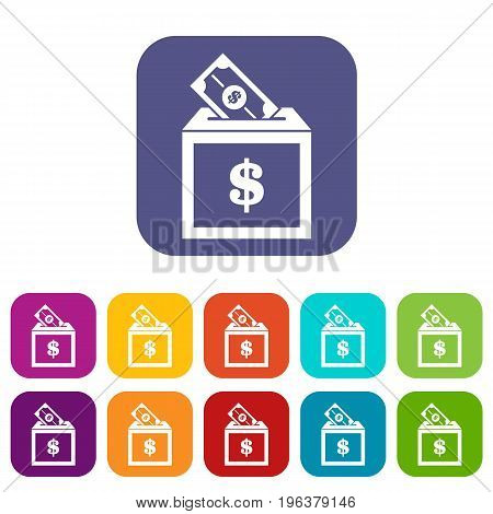 Donation box icons set vector illustration in flat style in colors red, blue, green, and other