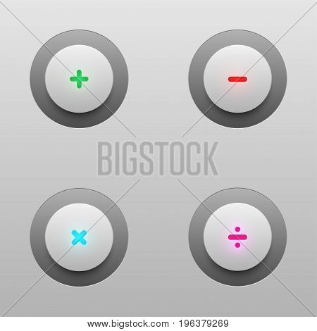 math tech buttons including plus, minus, multiply and divide buttons for vector design