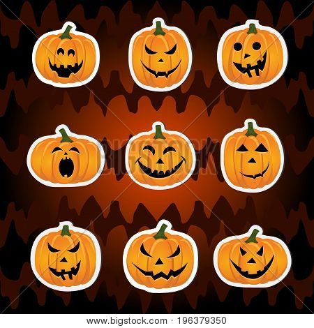 Abstract seamless pattern for girls, boys for halloween. Set of stickers. Creative vector background with pumpkin.