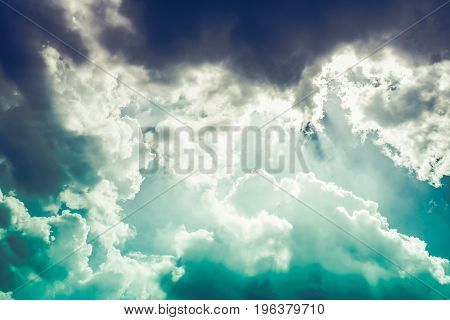 Beautiful Blue Sky With Cloudy. Nature Background. Outdoors On Summer Day.