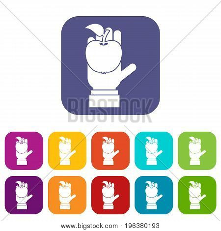 Apple in hand icons set vector illustration in flat style in colors red, blue, green, and other