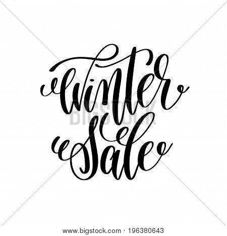 winter sale hand lettering inscription to winter holiday greeting card, Christmas banner calligraphy text quote, vector illustration