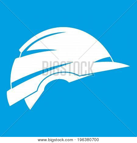 Construction helmet icon white isolated on blue background vector illustration