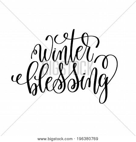 winter blessing hand lettering inscription to winter holiday greeting card, Christmas banner calligraphy text quote, vector illustration