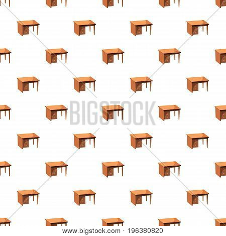 Computer desk pattern seamless repeat in cartoon style vector illustration