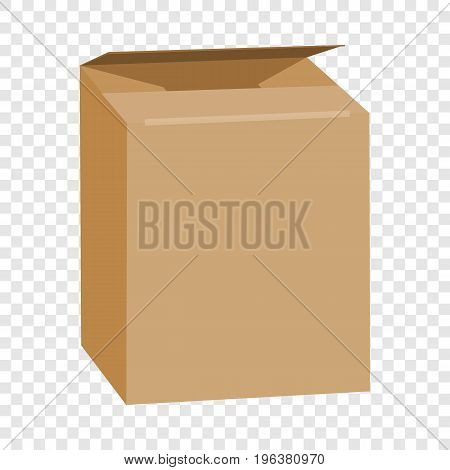 Opened brown rectangle box mockup. Realistic illustration of opened brown rectangle box vector mockup for web