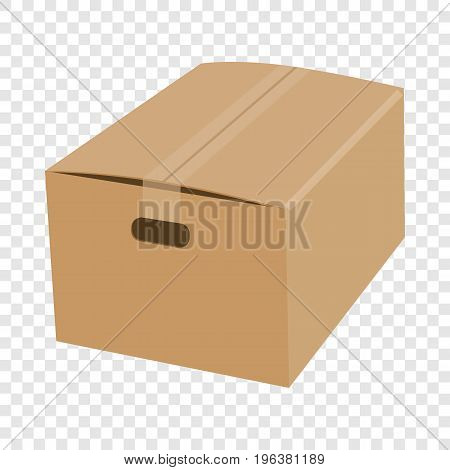 Closed cardboard box taped up mockup. Realistic illustration of closed cardboard box taped up vector mockup for web