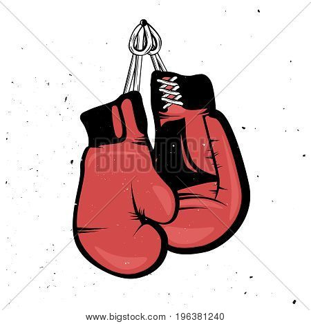 Hanging boxing gloves in retro style. Retro red boxing gloves hanging with a rope. Grunge effect on background